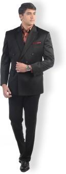Hangrr Washington Black Double Breasted Solid Men's Suit