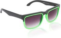Glitters Fashionable Black::Green Wayfarer Sunglasses