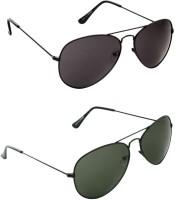 Ausum Combo Of 2 Black And Dark Green With Box For Unisex Aviator Sunglasses