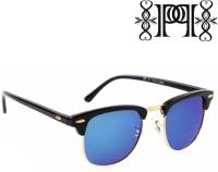 Poloport Black Frame Blue Green Shade Lense Clubmaster Wayfarer Sunglasses