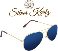 Silver Kartz Mercury Blue Classic Aviator Sunglasses Blue
