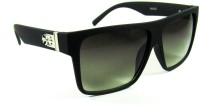 TheWhoop Premium Retro Rectangular Black Green Rectangular Sunglasses