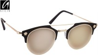 Aislin Premium Homme Composit Flash Mirror Cat-eye Sunglasses Green