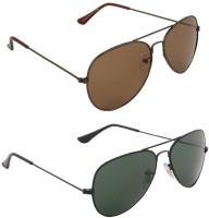 Allen Cate Combo Of Dark Brown & Dark Green Aviator Sunglasses