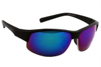 Feel Men Green Mirrored Lens Black Plastic Frame 100% UV Protected Medium-60 Sports Sunglasses