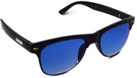 Shoaga Black Frame Blue Glass Oval Sunglasses