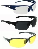 Vast Combo Of Day & Night Vision Wrap Around Sports Sunglasses Black