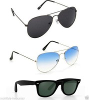 Ausum Combo Of 3 Black Sky Blue And Black With Box Wayfarer, Aviator, Aviator Sunglasses