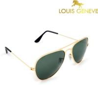Louis Geneve Golden Frame Finish With Green Lens Aviator Sunglasses
