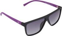 Panache Matte Black-Purple Frame-Grey Gradient Polarised Lens Wayfarer Sunglasses