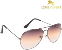 Louis Geneve Classic Series Silver Frame With Brown Lens Aviator Sunglasses