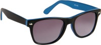 Cristiano Ronnie Matt. Black With Blue Sides & Gradient Lenses Wayfarer Sunglasses Grey