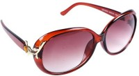 New Zovial Golden Touch Brown Oval Sunglasses
