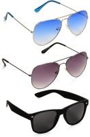 Benour Combo Unisex Aviator, Wayfarer Sunglasses Blue, Violet, Black
