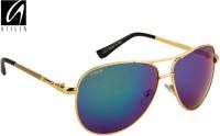 Aislin Classic Flash Mirror Aviator Sunglasses Green, Blue