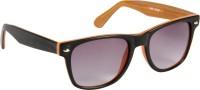 Cristiano Ronnie Matt. Black & Wood Finish Wayfarer Sunglasses Grey