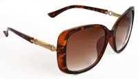 Puma GUSSI Stylish Dark Brown Tiger Over-sized Sunglasses