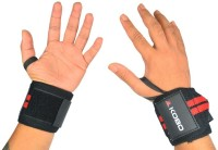 Kobo Pro Weight Lifting Straps Wrist Support (Free Size, Black, Red)