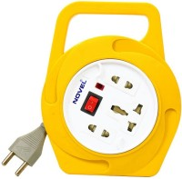 Novel 2 Pin Flex Box 4 Meter (with Handle, Indicator And International Socket) 3 Strip Surge Protector (Yellow)