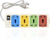 Hitisheng 4+4 Sockets Power Extension Cord Board Multiple Outlet 8 Strip Surge Protector (Multicolor)