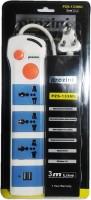 Prozini 3 Way Universal Plug With 2.1 A USB Charger 3 Strip Surge Protector (White)