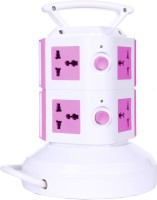 Chkokko 7 Universal Power Sockets And 2 USB Ports 7 Single Adapter Surge Protector (Pink)