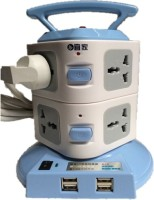 Easy Plug Portable Socket With Usb 8 Strip Surge Protector (Blue, White)