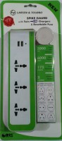 Larsen & Toubro Spike Guard With Twin Usb Charger & Resettable Fuse 3 Strip Surge Protector (White, Green)