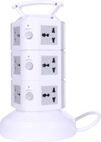 Chkokko 3 Layer Extension Tower With Handel And 2 USB Ports 11 Single Adapter Surge Protector (Grey)