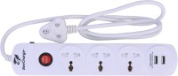 BeeCharge 3 Way+ 2 USB Power Socket With Spike Protection 3 Strip Surge Protector (White)