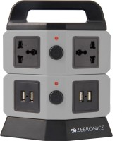 Zebronics Extension Socket With 4 USB Port 4 Strip Surge Protector (Black)