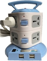 Techshoppe Plug Portable Socket With Usb 8 Strip Surge Protector (Blue, White)