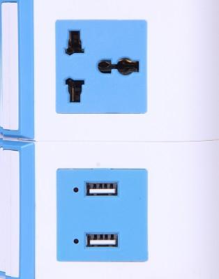 Chkokko 11 Universal Power Sockets And 2 USB Ports 11 Single Adapter Surge Protector (Blue)
