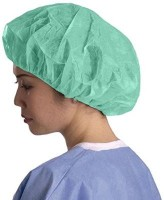 Salus Bouffant Cap 100 Pcs Green Surgical Head Cap (Disposable)