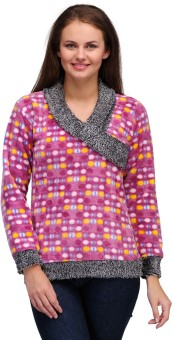 V2k Fashion Polka Print V-neck Casual Women's Sweater