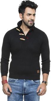 Zovi Black Solid Turtle Neck Casual Men's Sweater