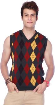Life By Shoppers Stop Geometric Print V-neck Casual Men's Reversible Sweater - SWTE7V5KFHBBG5UQ