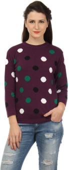 Pulse Polka Print Round Neck Casual Women's Sweater