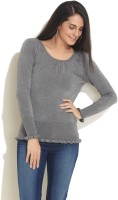 Soie Solid Scoop Neck Casual Women's Sweater