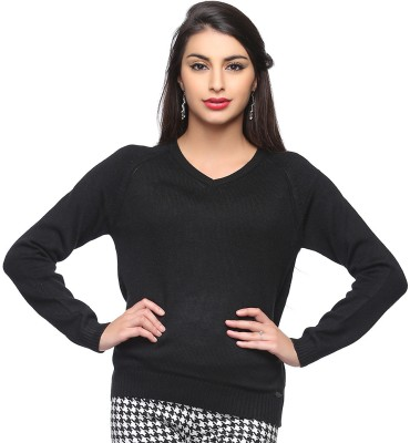 Madame Madame Solid V-Neck Casual Women's Sweater (Black)