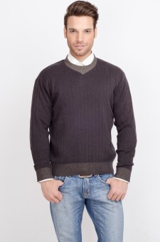 ALX New York Solid Crew Neck Casual Men's Sweater