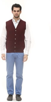 ALX New York Solid V-neck Casual, Formal Men's Sweater