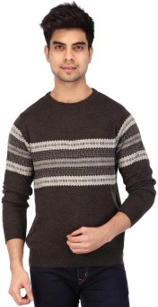 Acropolis By Shoppers Stop Self Design Round Neck Casual Men's Sweater - SWTEBPVG2HGQGBAS