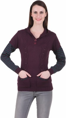 Juelle Juelle Solid V-Neck Casual Women's Sweater (Violet)