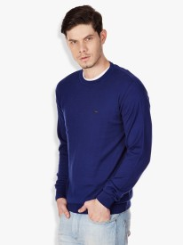 Locomotive Solid Round Neck Casual Men's Sweater