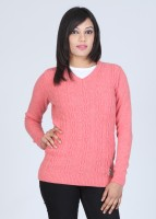American Swan Solid V-neck Casual Women's Sweater