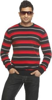 Jovana Lifestyle Grey Striped Round Neck Casual Men's Sweater
