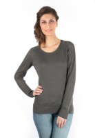 Again Solid Round Neck Casual Women's Sweater - SWTDXST8KVZNSBZT