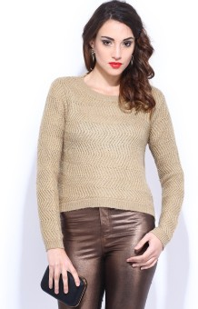 D Muse By Dressberry Winter Self Design Round Neck Casual Women's Sweater