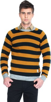 Zovi Mustard Yellow And Navy Blue Full-sleeved Striped Round Neck Casual Men's Sweater